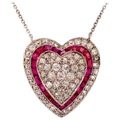 Brilliant Ruby and Diamond Heart Necklace