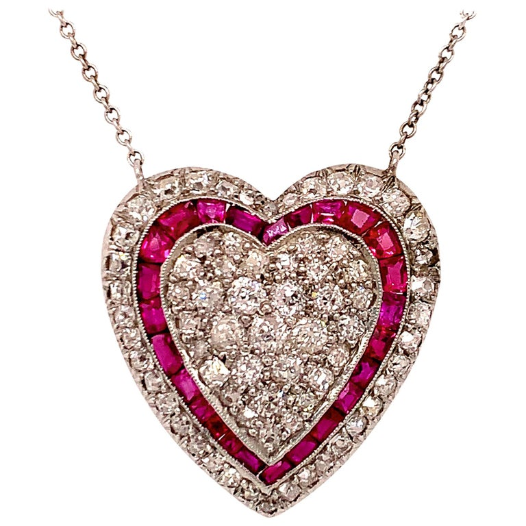 Brilliant Ruby and Diamond Heart Necklace For Sale