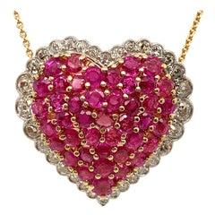 Brilliant Ruby Diamond Gold Platinum Heart Pendant