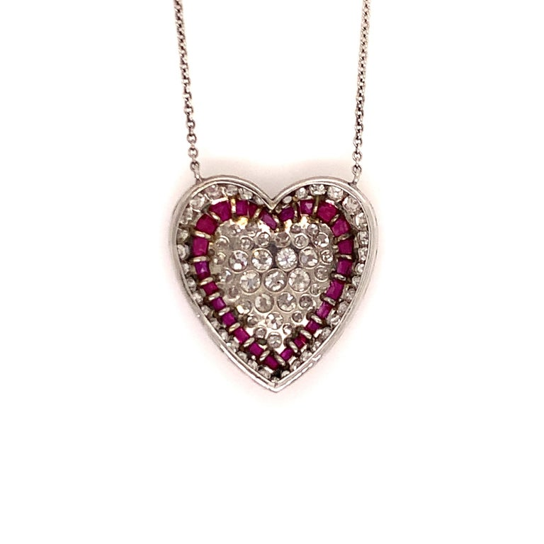 Edwardian Brilliant Ruby and Diamond Heart Necklace For Sale