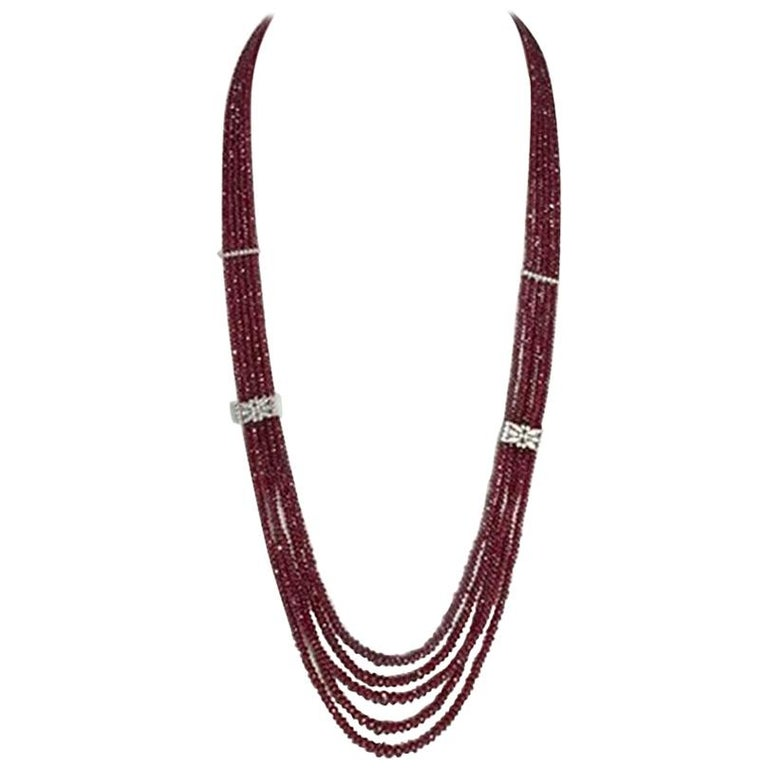 Brilliant Set Ruby Necklace 750 Gold For Sale At 1stdibs
