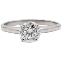 Brilliant Star Round Diamond Solitaire Ring 1.05 Carat in 14 Karat White Gold