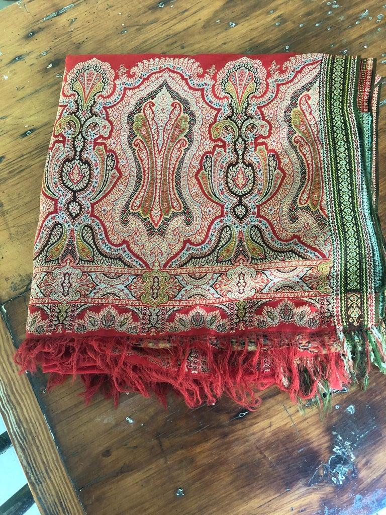 Brilliant Tomato Red Wool Kashmiri Paisley Bordered Throw For Sale 1