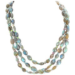 Gemjunky Resort-Travel Triple Strand Natural Labradorite Necklace