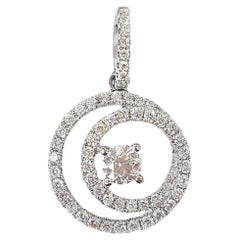 Brilliant White Diamond Spiral Pendant in 18 Karat Gold