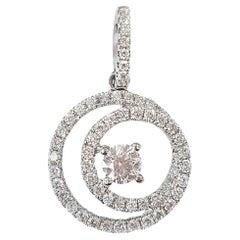 Brilliant White Diamond Spiral Pendant in 18 Karat White Gold