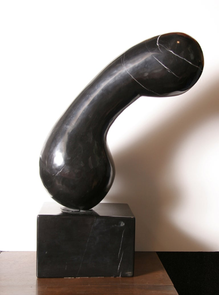 A unique marble sculpture by Brilliante circa 1975. An abstract form carved from deep black marble with subtle white veining.   Artist: Brilliante Title: Princess X after Constantin Brancusi Year: circa 1975 Medium:	Black Marble, signature inscribed
