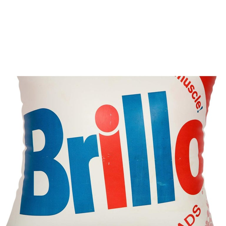 Brillo Pillow, Pop Art, Red, White and Blue, Inflatable, Signed For Sale 3