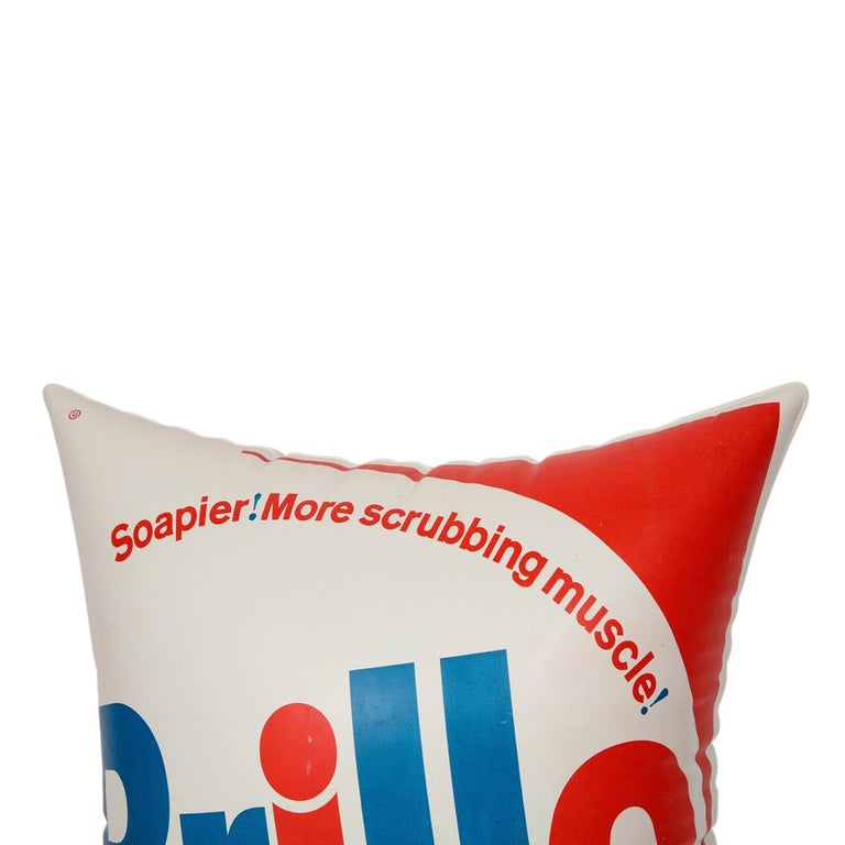 Brillo Pillow, Pop Art, Red, White and Blue, Inflatable, Signed For Sale 5
