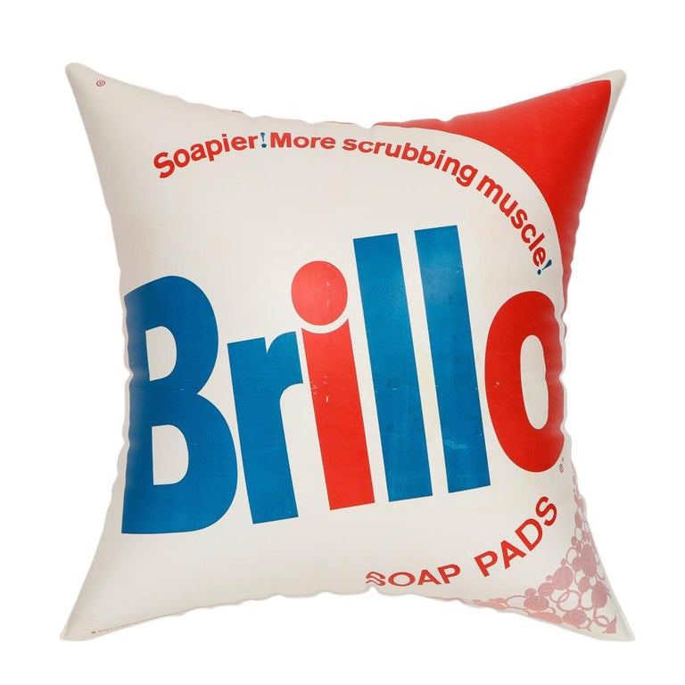 Brillo pillow, pop art, red, white and blue, Inflatable, signed. Large promotional inflatable pillow for Brillo Pads Purex Corporation from late 1960s. This design inspired Andy Warhol's renowned pop art Brillo sculptures and his inflatable art