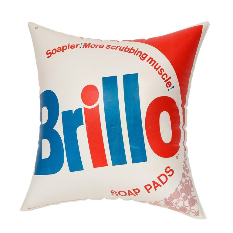 Mid-Century Modern Brillo Pillow, Pop Art, Red, White and Blue, Inflatable, Signed For Sale