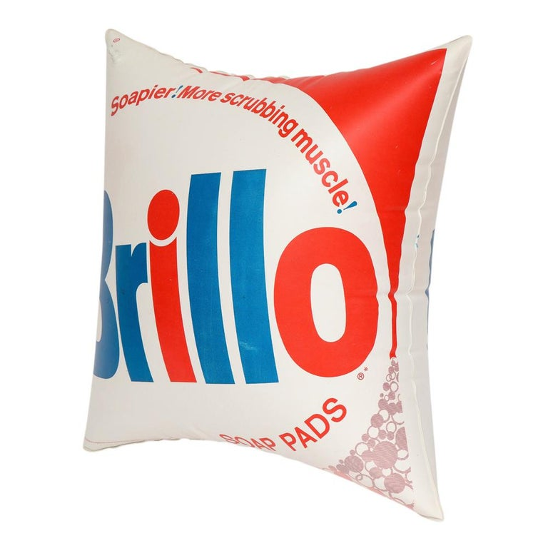 Brillo Pillow, Pop Art, Red, White and Blue, Inflatable, Signed In Good Condition For Sale In New York, NY