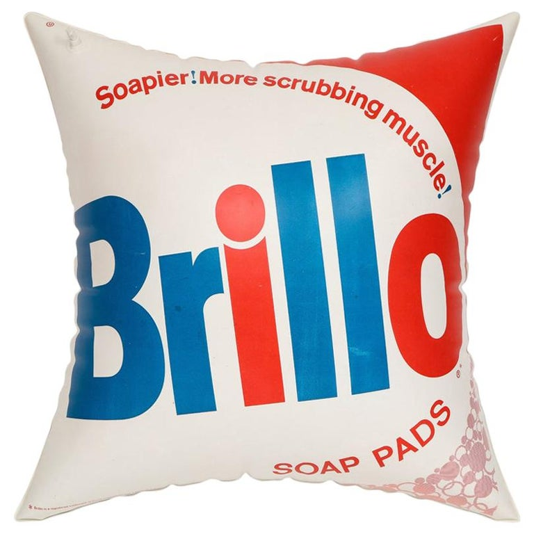 Brillo Pillow, Pop Art, Red, White and Blue, Inflatable, Signed For Sale