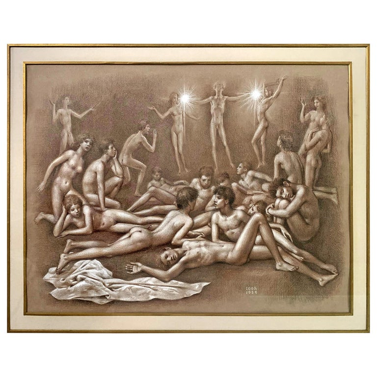 """""""Bringing the Light,"""" Ambitious and Sensuous Drawing with Nudes by Gaston Goor For Sale"""