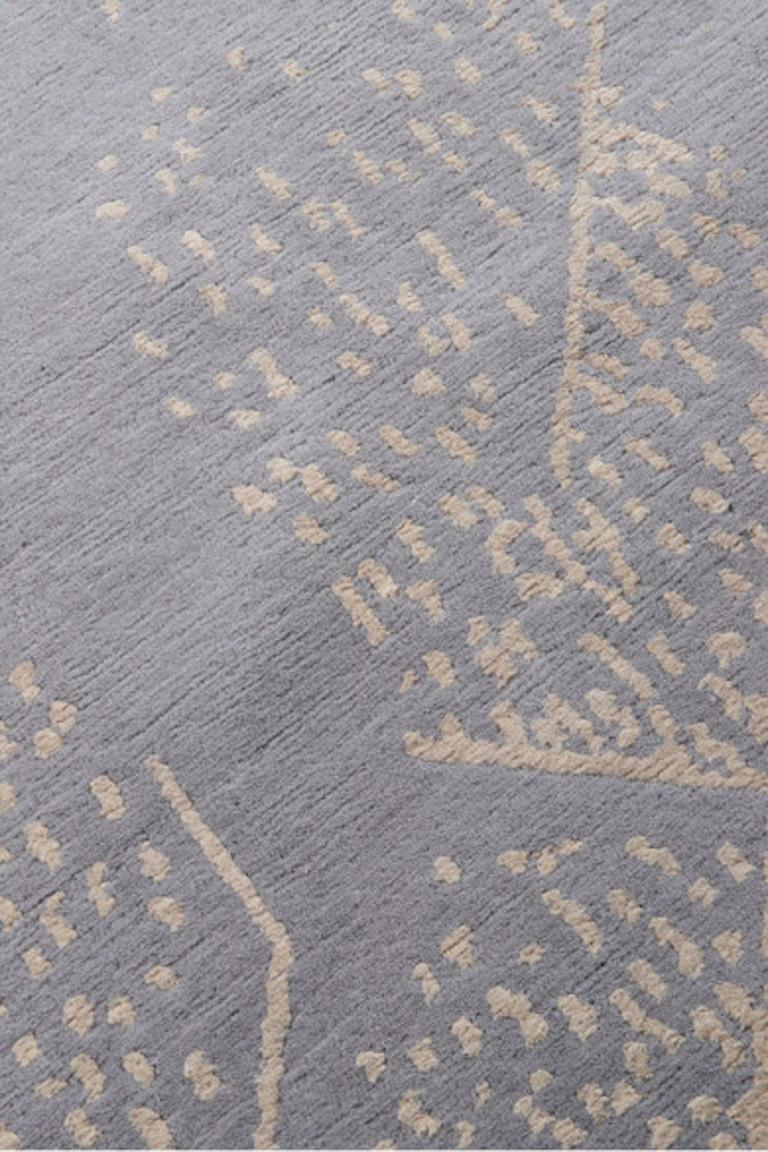 For Sale: Gray (Smoke) Brink Rug in Hand Knotted Wool and Silk by Kelly Wearstler 2