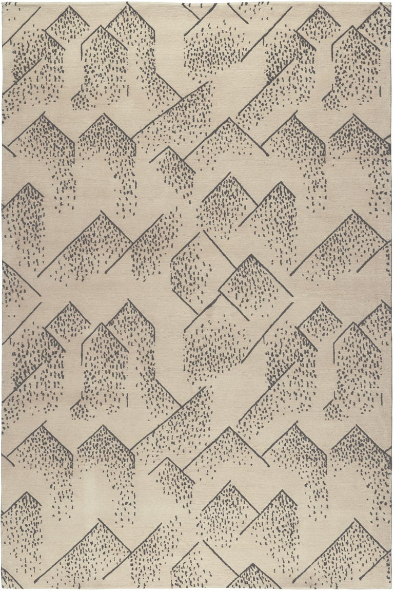 For Sale: Beige (Ivory) Brink Rug in Hand Knotted Wool and Silk by Kelly Wearstler