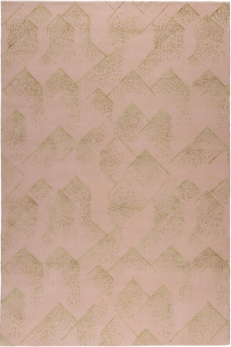 For Sale: Pink (Dusk) Brink Rug in Hand Knotted Wool and Silk by Kelly Wearstler