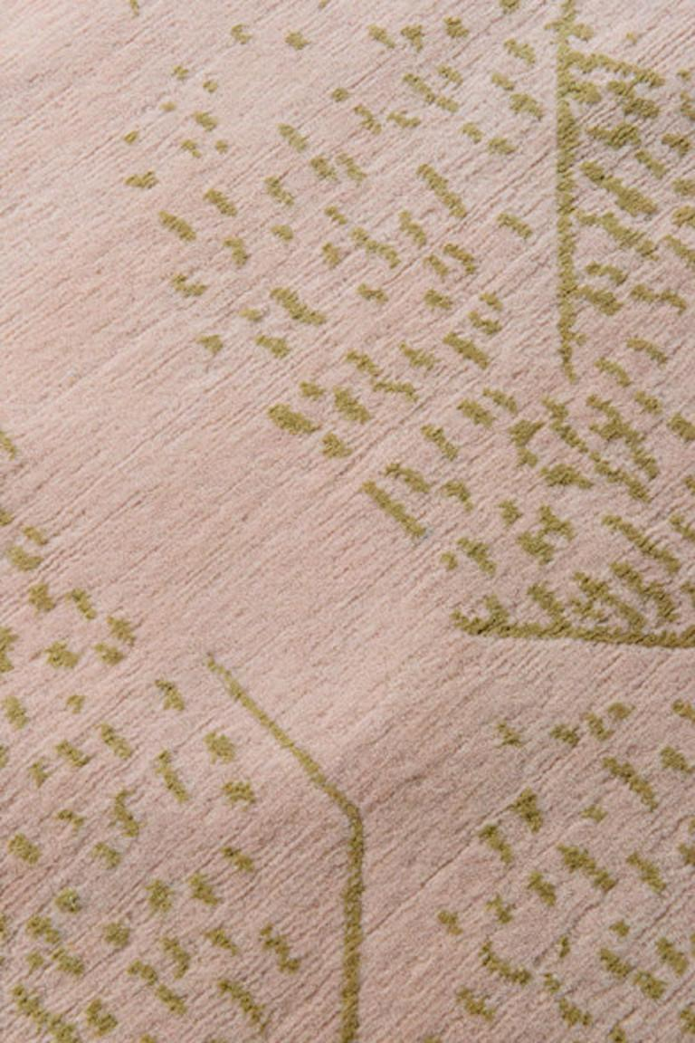 For Sale: Pink (Dusk) Brink Rug in Hand Knotted Wool and Silk by Kelly Wearstler 2