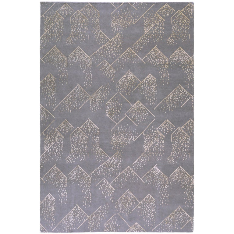 For Sale: Gray (Smoke) Brink Rug in Hand Knotted Wool and Silk by Kelly Wearstler