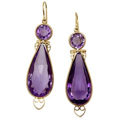 Briolette Amethyst Gold Heart Earrings