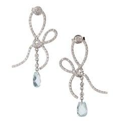 Briolette Aqua Diamond Swirl Dangle Chandelier Earrings