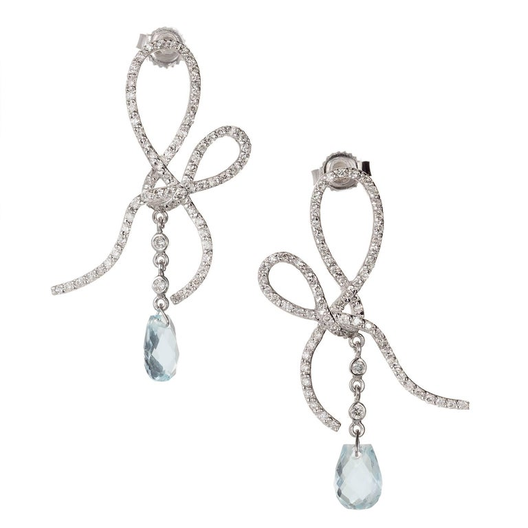 Briolette Aqua Diamond Swirl Dangle Chandelier Earrings