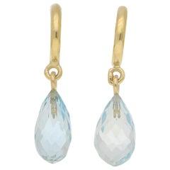 Briolette Aquamarine Half Hoop Drop Earrings in 18 Karat Yellow Gold