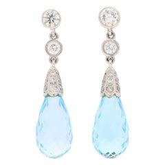 Briolette Blue Topaz and Diamond Drop Earrings Set in 18k White Gold
