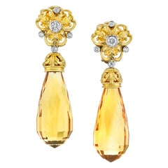 Briolette Cut Citrine and Diamond, Yellow Gold, French Clip Dangle Earrings