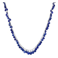 Briolette Cut Sapphire and 18 Karat Necklace