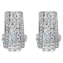 Briolette Diamond and Round Diamond Earrings in 18 Karat White Gold