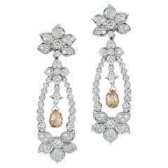 Briolette Diamond Flower Chandelier Earrings