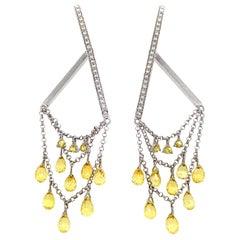 Briolette Fancy Sapphire and Diamond Drop Earrings in 18 Karat Gold