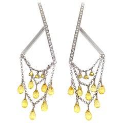 Briolette Fancy Sapphire and Diamond Drop Earrings in 18 Karat White Gold
