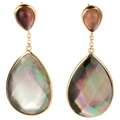 Intini Jewel Briolette Mother Pearl Tourmaline 18 Karat Gold Chain Drop Earrings