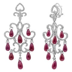 Roman Malakov, Briolette Ruby and Diamond Chandelier Earrings