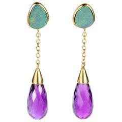 Briollete Amethyst Opal Stud Blu Tear Radiant 18 Karat Gold Chain Long Earrings