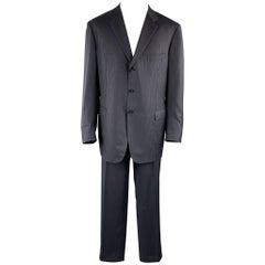 BRIONI 46 Navy Stripe Wool Notch Lapel Suit