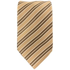BRIONI Beige & Brown DIagonal Striped Silk Tie