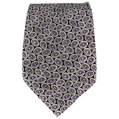 BRIONI Black & Purple Silk Dots Handmade Tie