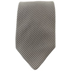 BRIONI Black & White Micro Plaid Silk Tie