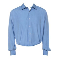 Brioni Blue Cotton Button Front Regular Fit Shirt XXXL