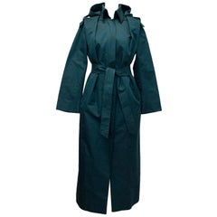 Brioni Blue Long Trench Coat - Size US 8