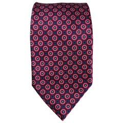 BRIONI Burgundy & Navy Circle Print Silk Tie