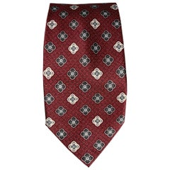 BRIONI Burgundy & Silver Rhombus Silk Tie