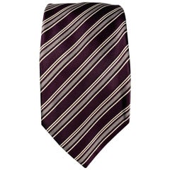 BRIONI Eggplant & White Stripe Silk / Cotton Tie