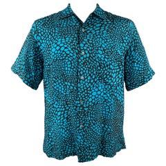 BRIONI for NEIMAN MARCUS Size M Aqua & Black Print Rayon Button Up Shirt