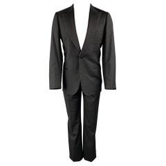 BRIONI for WILKES BASHFORD Size 40 Long Black Wool Peak Lapel Tuxedo