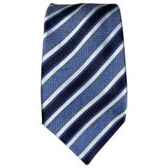 BRIONI Light Blue & Black Stripe Silk Tie