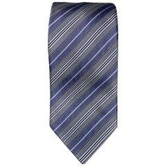 BRIONI Light Blue & Cream Stripe Silk Tie